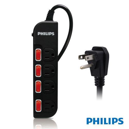 【網購獨享優惠】PHILIPS SPB1641BA 四開四插延長線 1.8M 黑色