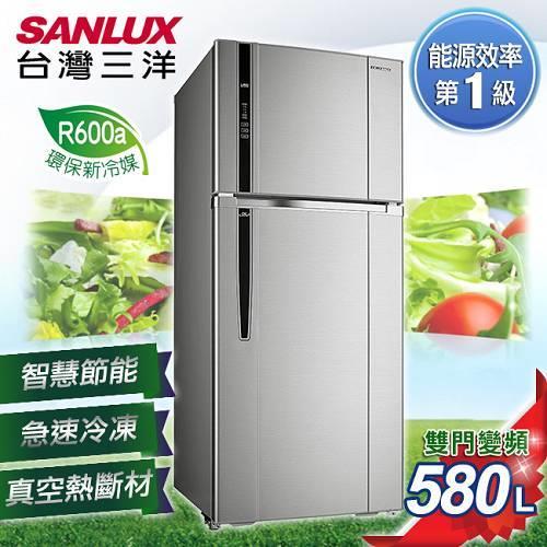 【SANLUX台灣三洋】580L雙門直流變頻冰箱。銀色系/SR-B580BV