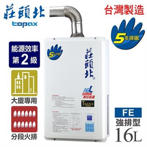 【莊頭北】16L數位恆溫分段火排強制排氣熱水器/TH-7166FE(NG1/FE式天然瓦斯)