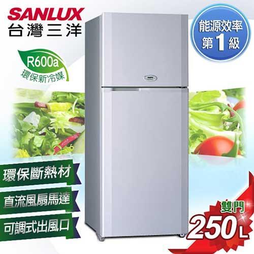 台灣三洋 SANLUX250公升 風扇雙門冰箱 SR-A250B