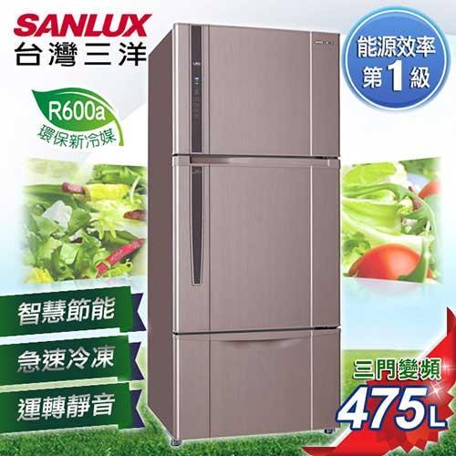 SANLUX台灣三洋475L三門直流變頻冰箱 SR-B475CV