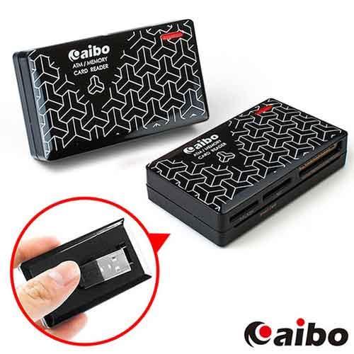 aibo AB07 時尚ATM晶片記憶卡讀卡機-黯黑時尚