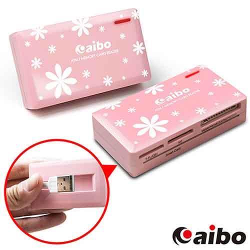 aibo AB07 時尚ATM晶片記憶卡讀卡機-粉紅花漾