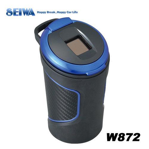 日本SEIWA 碳纖紋 可掛式橡膠防震 太陽能夜間感應式LED 煙灰缸 W872