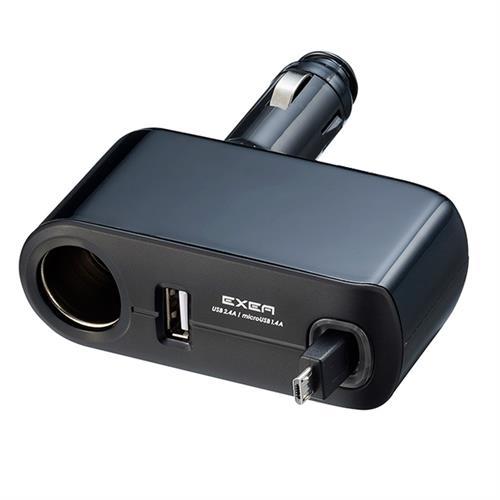 日本SEIKOSANGYO 3.8A USB+MicroUSB捲線式+單孔直插式電源插座擴充器