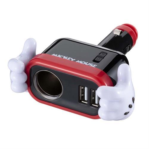 日本NAPOLEX 米奇 單孔+雙USB 2.4A 直插式車用插座+車充 WD-323