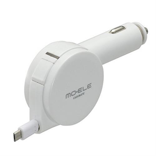 日本CARMATE 2.4A microUSB 伸縮捲線式 點煙器手機充電器 ME161