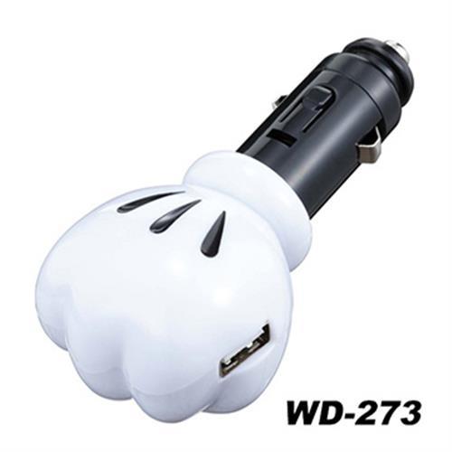 日本NAPOLEX Disney 米奇 USB車用點煙器 電源充電器 2.1A WD-273