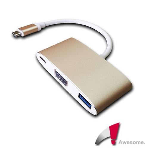Awesome USB 3.1 TypeC to VGA/TypeC/USB3.0轉接盒-A00250001