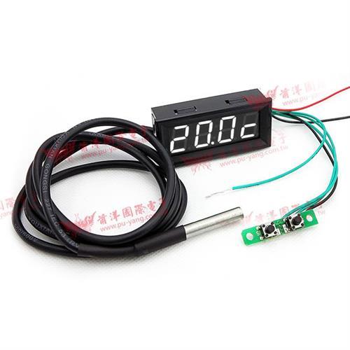 0.56四位元 溫度/時間/電壓三合一LED錶頭(黑殼白光)