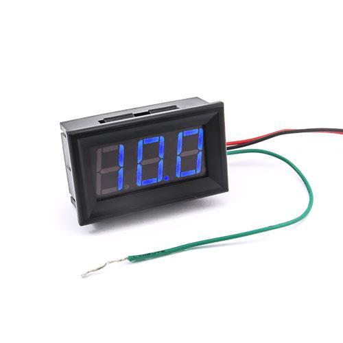 防水型0.56三位元 LED電壓錶頭 DC0~200V(黑殼藍光)