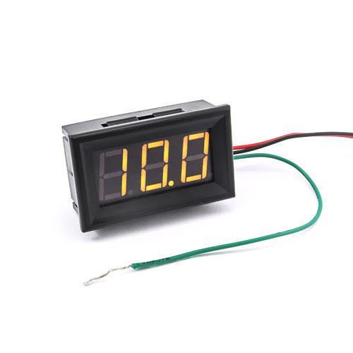 防水型0.56三位元 LED電壓錶頭 DC0~200V(黑殼黃光)