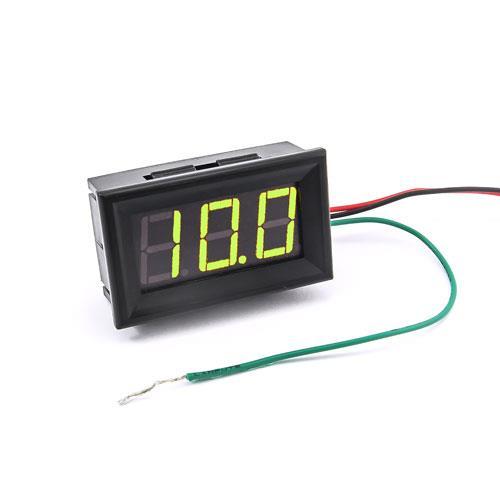 防水型0.56三位元 LED電壓錶頭 DC0~200V(黑殼黃綠光)