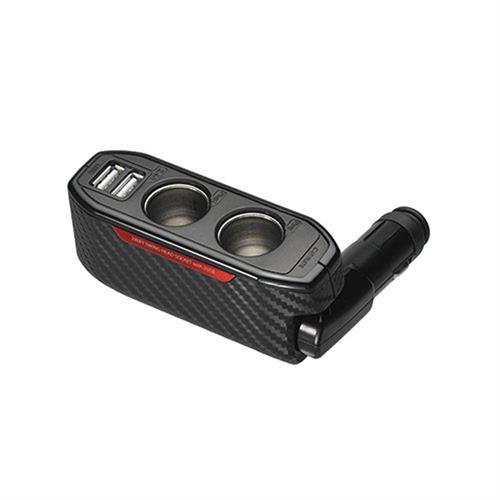 日本CARMATE 碳纖紅 2.4A USBx2+2孔 可調角度直插式 車充+電源擴充座 DZ339