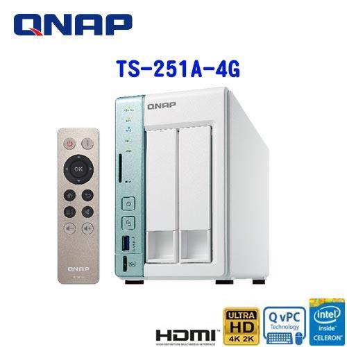 【網購獨享優惠】QNAP威聯通 TS-251A-4G 2Bay網路儲存伺服器