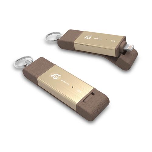 亞果元素iKlips DUO Apple專用雙向USB3.1極速多媒體行動碟 64GB 金色
