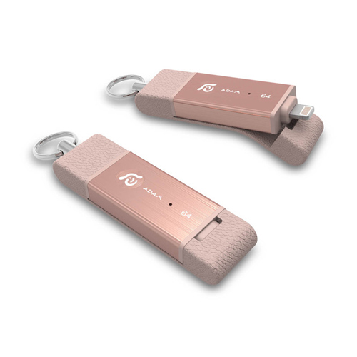 亞果元素iKlips DUO Apple專用雙向USB3.1極速多媒體行動碟 64GB 玫瑰金