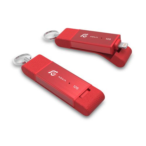 亞果元素iKlips DUO Apple專用雙向USB3.1極速多媒體行動碟 128GB 紅色