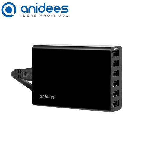 anidees 6Port USB 智能充電器 (黑)