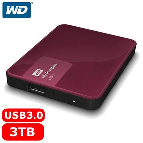 【網購獨享優惠】WD My Passport Ultra 2.5吋 3TB 行動硬碟 野莓紅