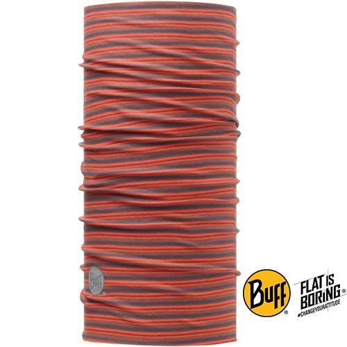 《BUFF》橘灰線條 織色頭巾BF108011