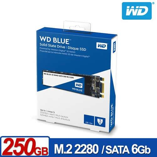 WD 藍標SSD 250GB M.2 2280 SATA 3D NAND固態硬碟【送玻璃水瓶(含保護套)】