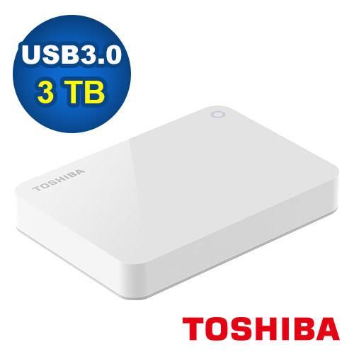 Toshiba 2.5吋 V9 3TB USB3.0 外接式硬碟 白【原價:3999▼再送硬碟包】