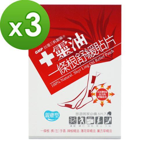 【十靈本舖】十靈油一條根舒緩貼片(親膚型) 3盒組(共15片)