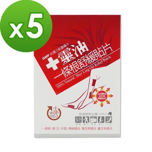 【十靈本舖】十靈油一條根舒緩貼片-小部位專用(熱感貼布) 5盒組(共50片)