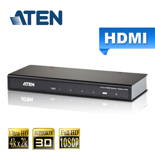 ATEN宏正 4埠 HDMI 影音分配器(VS184A)支援4K2K