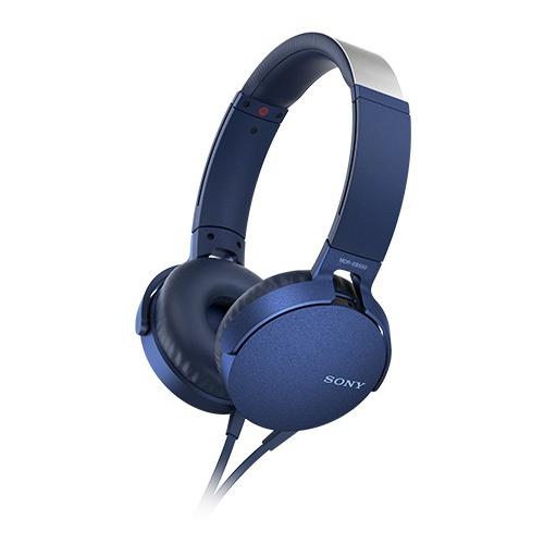 SONY 重低音可通話耳罩式有線耳麥 MDR-XB550AP-L 藍