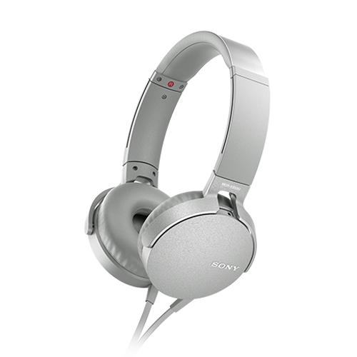 SONY 重低音可通話耳罩式有線耳麥 MDR-XB550AP-W 白