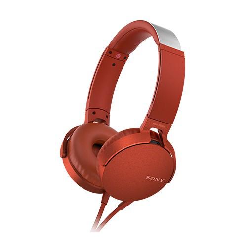 SONY 重低音可通話耳罩式有線耳麥 MDR-XB550AP-R 紅