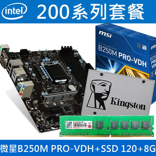 【超殺】微星 B250M PRO-VDH+SSD硬碟 120G+8G記憶體
