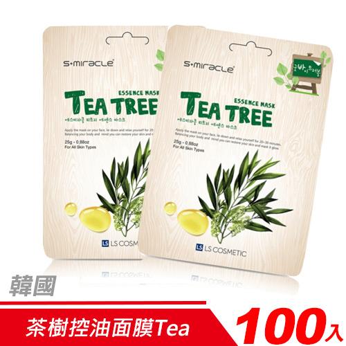 【超值組-100入】韓國 S+Miracle-茶樹控油面膜Tea tree