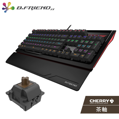 B.FRIEND MK1 多彩發光機械鍵盤 Cherry 茶軸