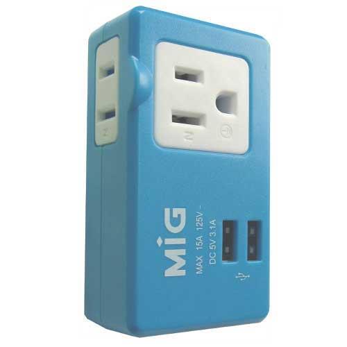 明家 SL-2231U2 2插座(2P+3P)15A+2USB 3.1A MAX 藍色