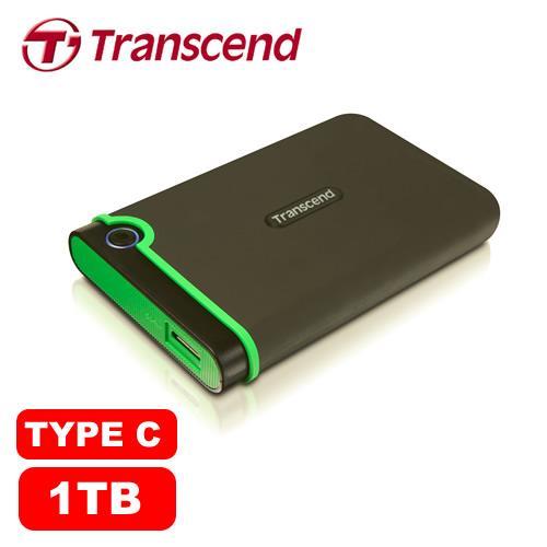 Transcend 創見 25MC 1TB 2.5吋 USB3.0/TYPE-C 軍規防震/防摔 外接式硬碟【送讀卡機+防震袋+2018桌曆】