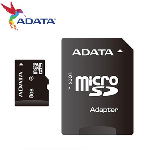 ADATA 威剛 MicroSDHC Class 4 8GB 記憶卡(附轉卡)