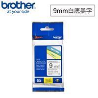 BROTHER  TZe-221 標準黏性護貝標籤帶 9mm 白底黑字