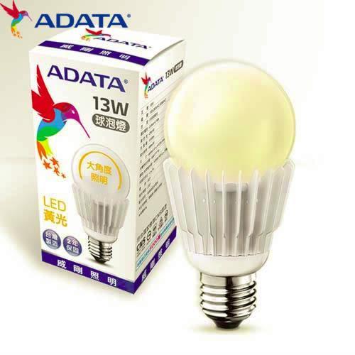 【5入組】ADATA威剛13W大角度LED球燈泡-黃光