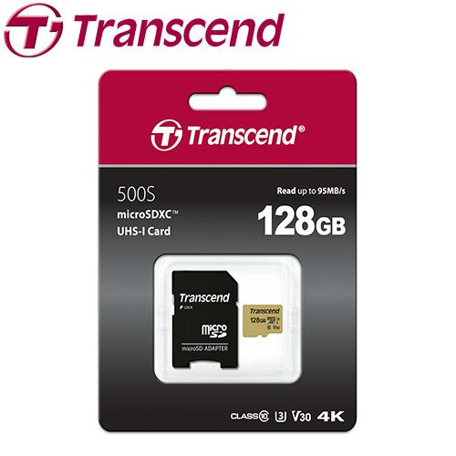 Transcend 創見 microSDXC 500S / 128G 記憶卡 ( U3 / V30 / MLC )