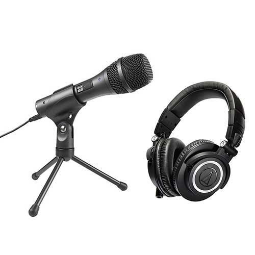 audio-technica 心型指向性动圈式USB/XLR麦克风AT2005USB + 专业型监听耳机 ATHM50x