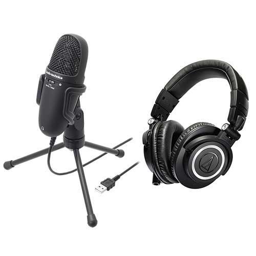 audio-technica 高性能收音USB麦克风 AT9934USB + 专业型监听耳机 ATHM50x