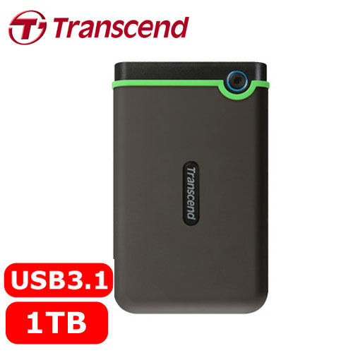 Transcend創見 StoreJet 25M3 1TB 2.5吋軍規防震防摔 行動硬碟 鐵灰