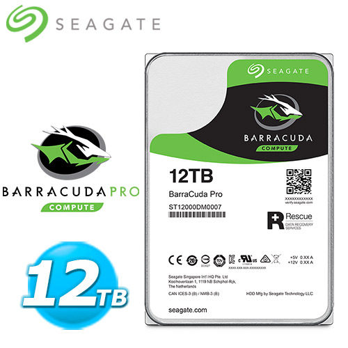 Seagate【BarraCuda Pro】12TB 3.5吋硬碟機 (ST12000DM0007)