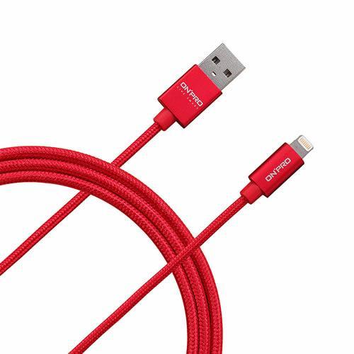 ONPRO UC-MFIM 金屬質感APPLE Lightning 充電傳輸線 可樂紅(200cm)