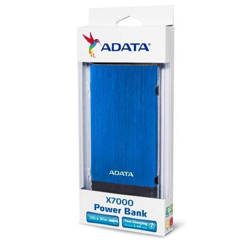 ADATA 威剛 X7000 藍色 7000mAh 行動電源 ( 薄型 )【【停電,約能充3次手機】】