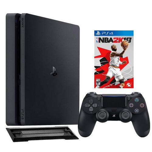 【限量】PS4 2117 500G主機-黑+NBA 2K18 一般版+直立架slim-01黑【限量1台】