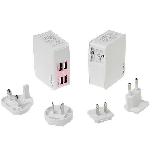 anidees 4+ QC2.0 USB智能充電器 (多國插頭)(粉)